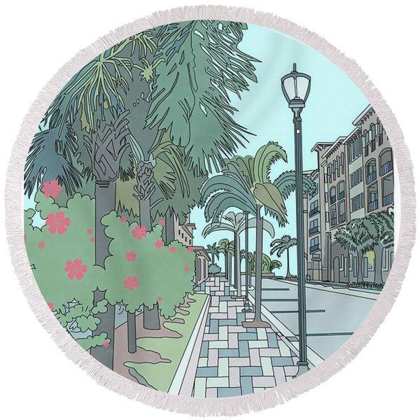 Round Beach Towel featuring the digital art Orange Avenue by Megan Dirsa-DuBois