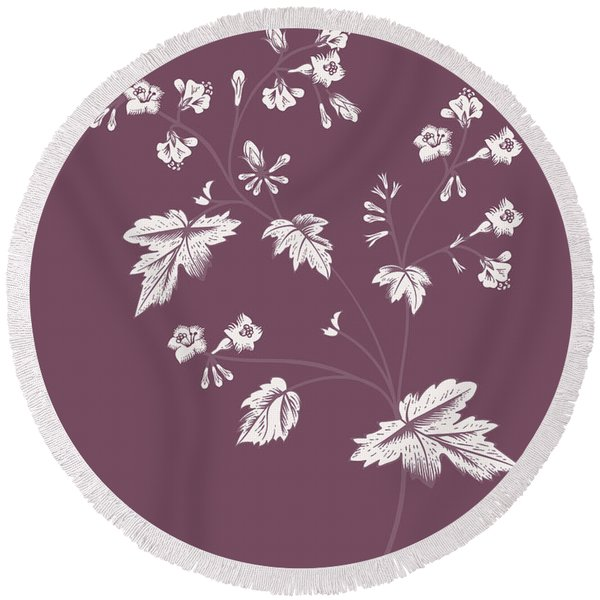 Phacelia Purple Flower Round Beach Towel