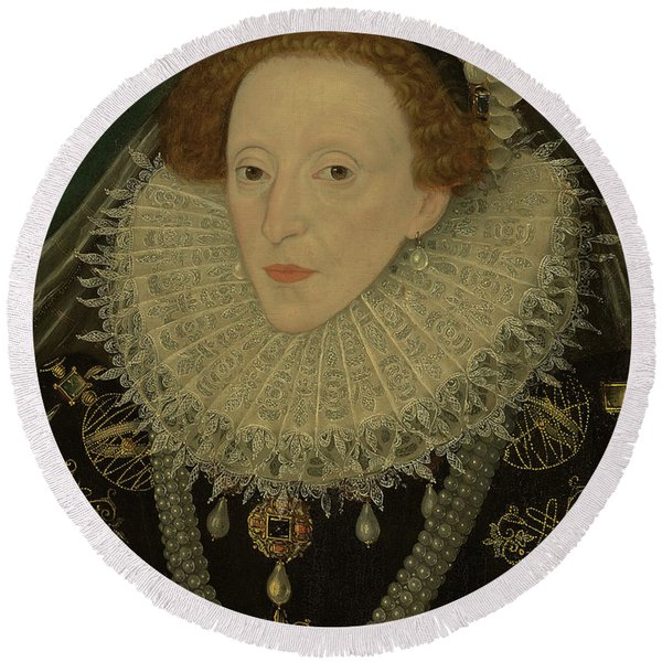 Portrait Of Queen Elizabeth I Round Beach Towel