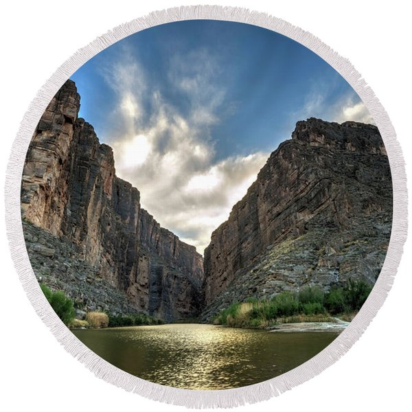 Santa Elena Canyon Round Beach Towel