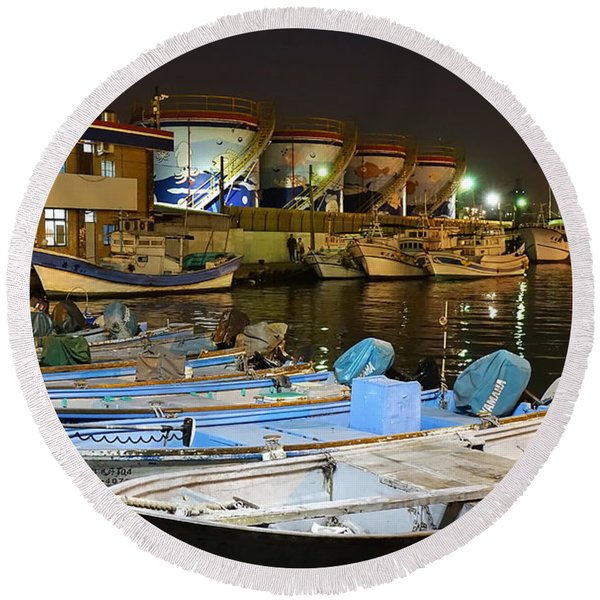 Small Fishing Harbor By Night In Taiwan Round Beach Towel