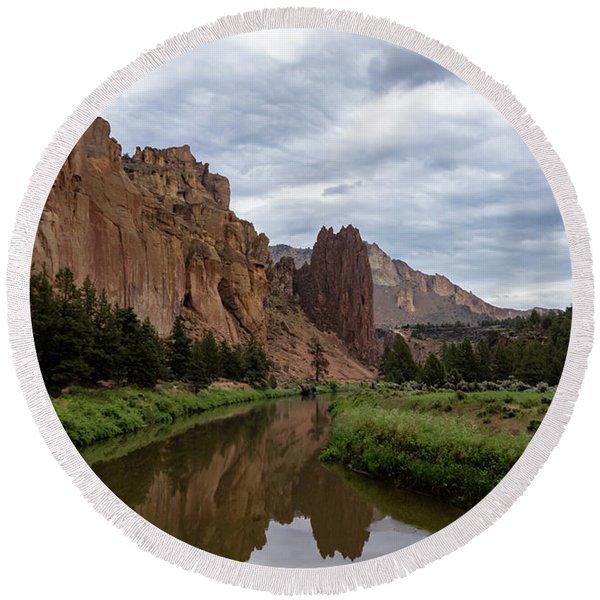 Smith Rock Reflections Round Beach Towel