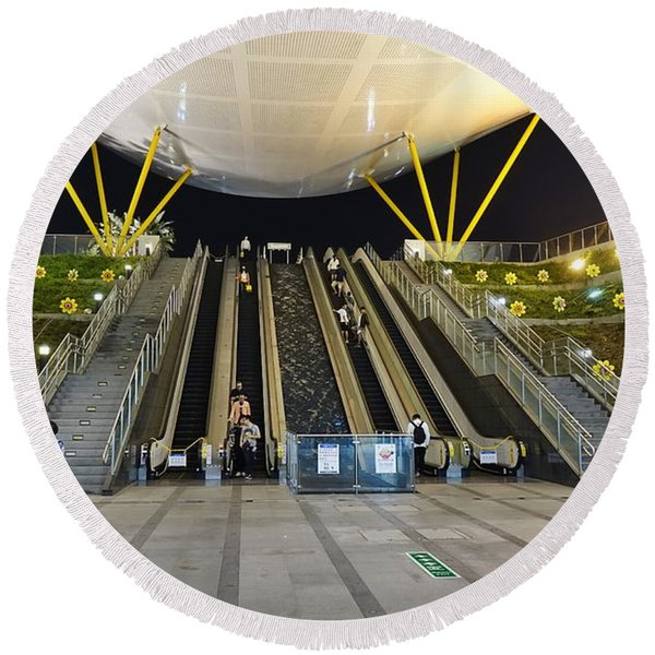 The Central Park Station Of The Kaohsiung Subway Round Beach Towel