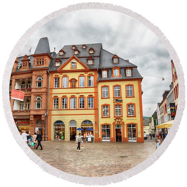 Round Beach Towel featuring the photograph Trier, Germany,  People By Market Day by Ariadna De Raadt