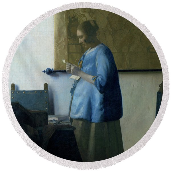 Woman Reading A Letter, 1663 Round Beach Towel