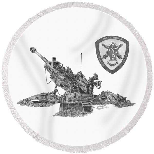 10th Marines 777 Round Beach Towel