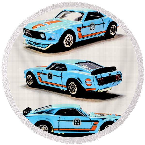 1969 Ford Mustang Boss 302 Round Beach Towel