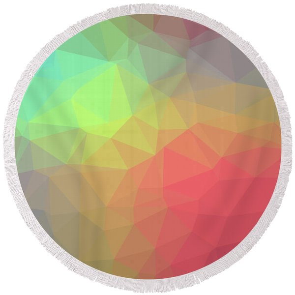 Gradient Background With Mosaic Shape Of Triangular And Square C Round Beach Towel