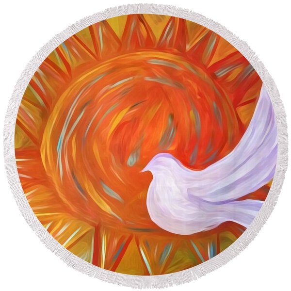 Healing Wings Round Beach Towel
