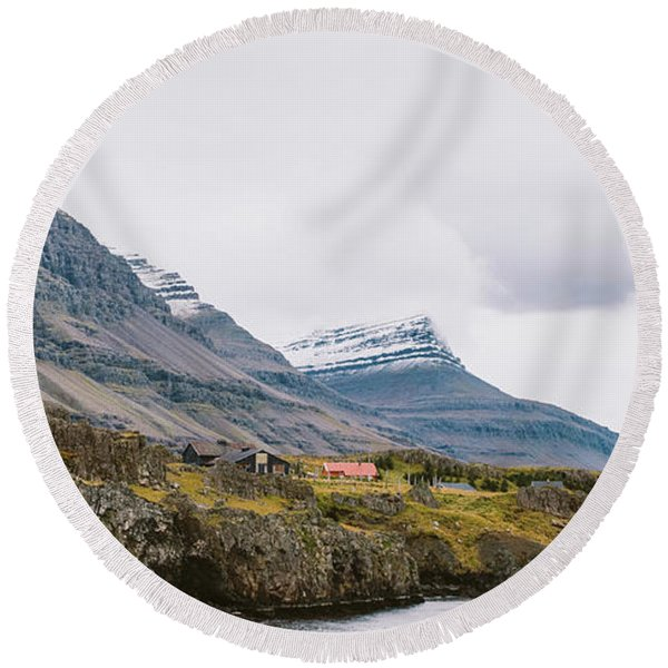 High Icelandic Or Scottish Mountain Landscape With High Peaks And Dramatic Colors Round Beach Towel
