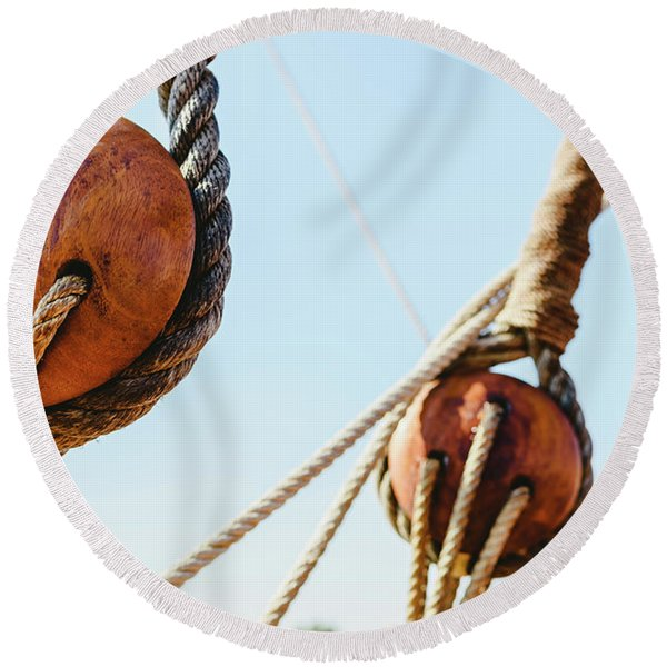 Rigging And Ropes On An Old Sailing Ship To Sail In Summer. Round Beach Towel