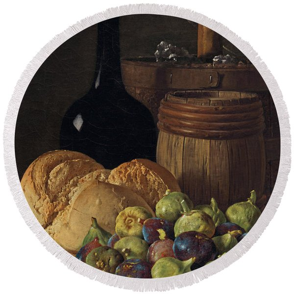 Still Life With Figs And Bread Round Beach Towel