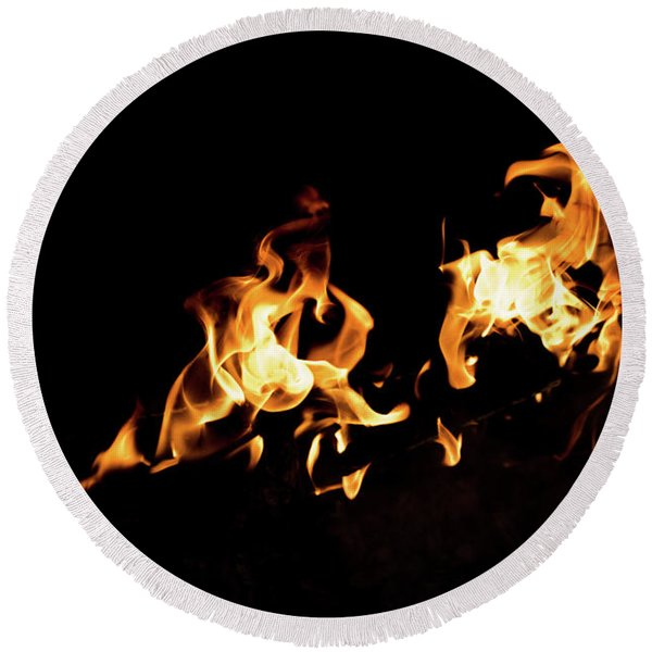 Flames In The Fire Of A Red And Yellow Barbecue. Round Beach Towel