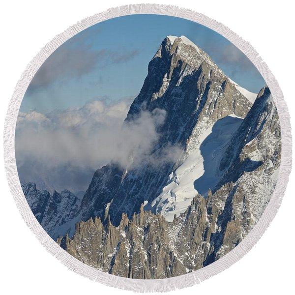 Mont Blanc Du Tacul Round Beach Towel