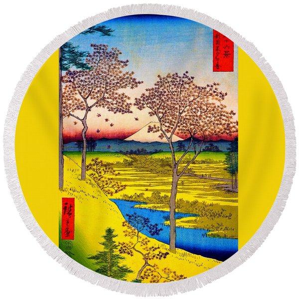 36 Views Of Mt.fuji - Yuhigaoka In The Eastern Capital - Digital Remastered Edition Round Beach Towel