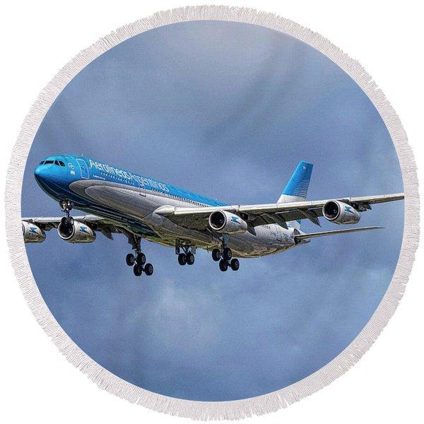 Aerolineas Argentinas Airbus A340-313 Round Beach Towel