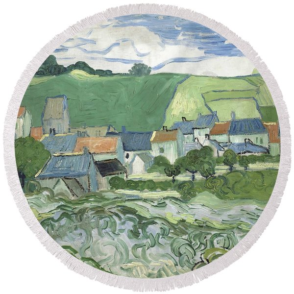 View Of Auvers Round Beach Towel