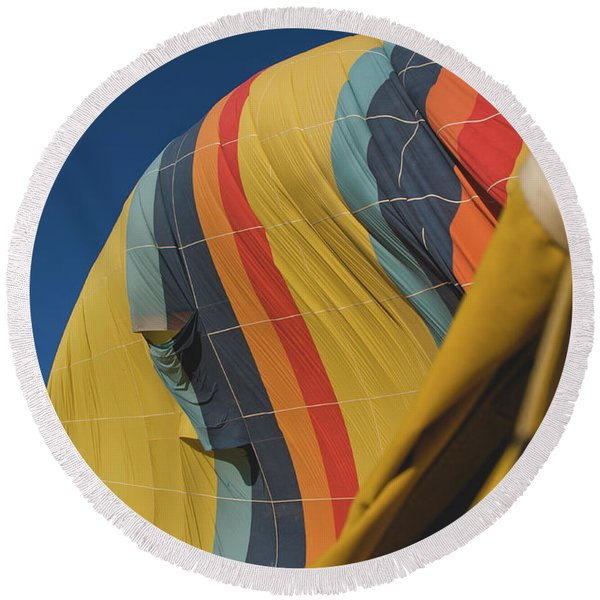 Colorful Balloons Flying Over Mountains And With Blue Sky Round Beach Towel