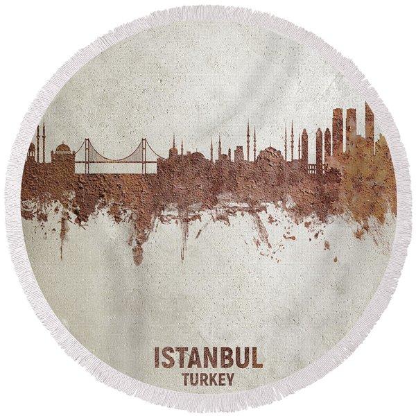 Istanbul Turkey Skyline Round Beach Towel