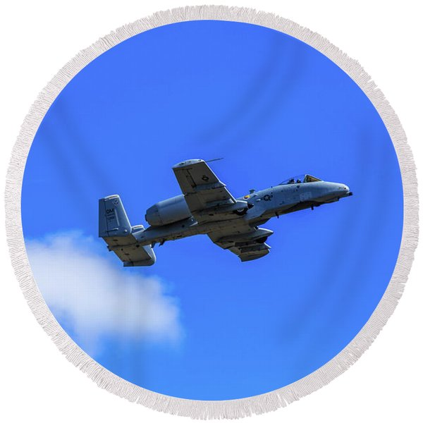 A-10c Thunderbolt II In Flight Round Beach Towel