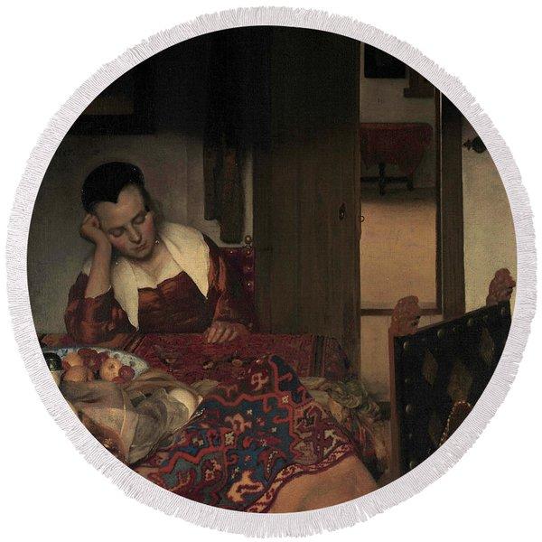 A Maid Asleep, 1657 Round Beach Towel