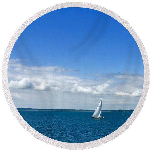 A Single Sailboat In Blue Round Beach Towel