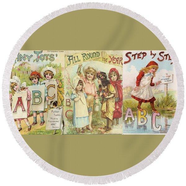 Abc Book Cover 7 For Mugs Round Beach Towel