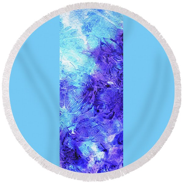 Abstract Cool Frosted Watercolor I Round Beach Towel