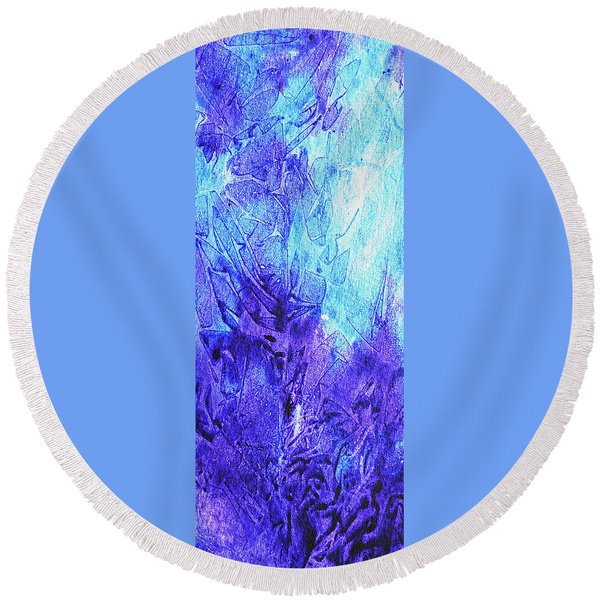 Abstract Cool Frosted Watercolor II Round Beach Towel