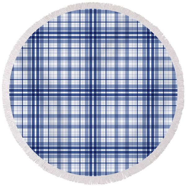 Abstract Squares And Lines Background - Dde613 Round Beach Towel