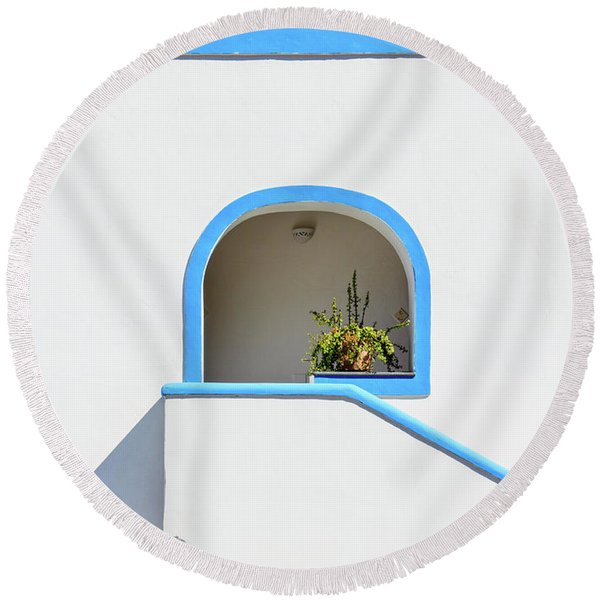 Aeolian Geometry Round Beach Towel