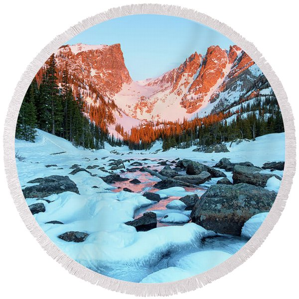 Alpenglow At Dream Lake Rocky Mountain National Park Round Beach Towel
