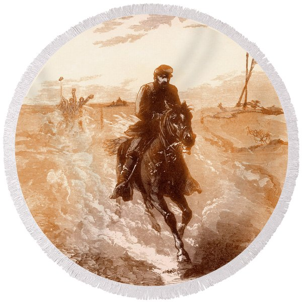 American Civil War Union General Philip Sheridan Rides To The Front Round Beach Towel
