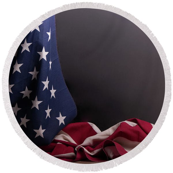 American Flag Draped On Itself Round Beach Towel