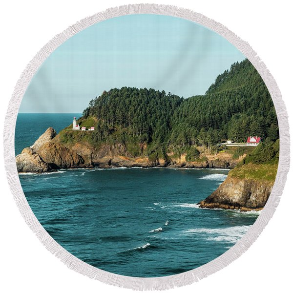An Oregon Lighthouse Round Beach Towel