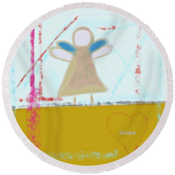 Angel Of Grace Round Beach Towel