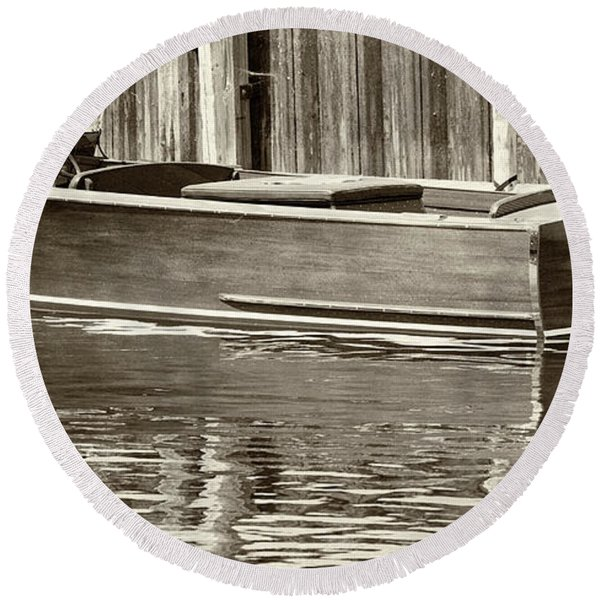 Antique Wooden Boat By Dock Sepia Tone 1302tn Round Beach Towel