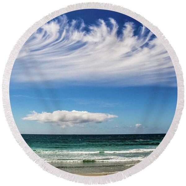 Aotearoa - The Long White Cloud, New Zealand Round Beach Towel