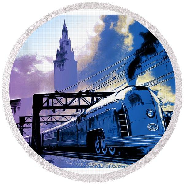 Art Deco Train Round Beach Towel
