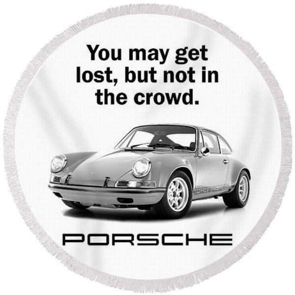 Lost In A Porsche Round Beach Towel