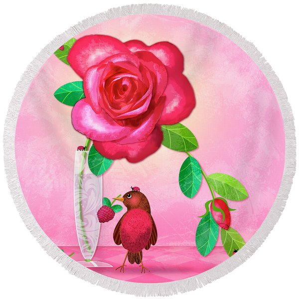 R Is For Rose And Robin Round Beach Towel