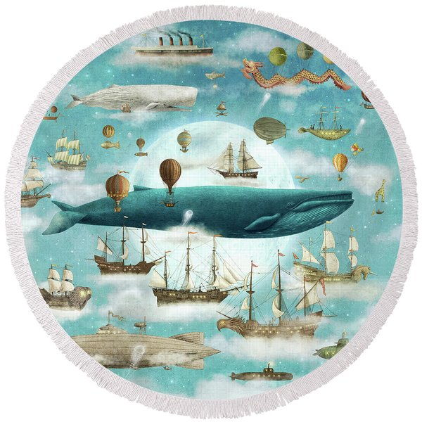 Ocean Meets Sky Round Beach Towel
