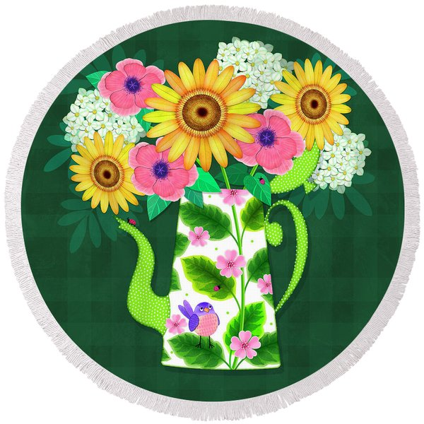 Summer Flowers In Coffee Pot Round Beach Towel