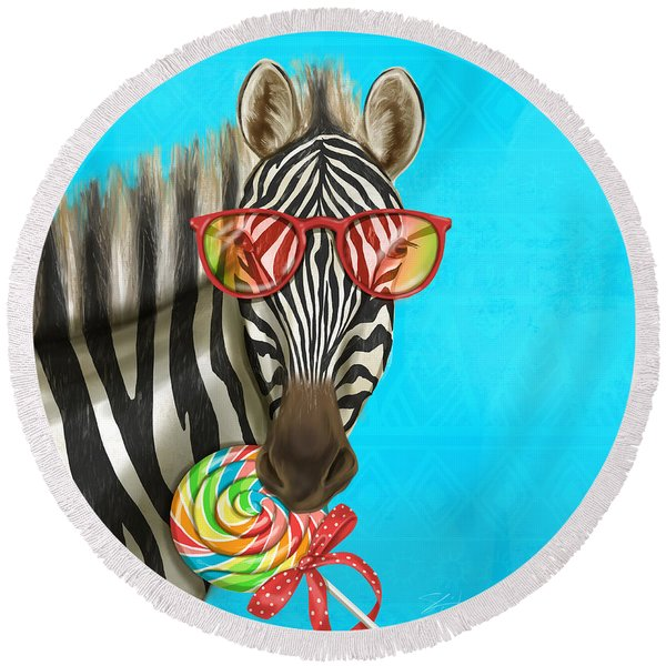Party Safari Zebra Round Beach Towel