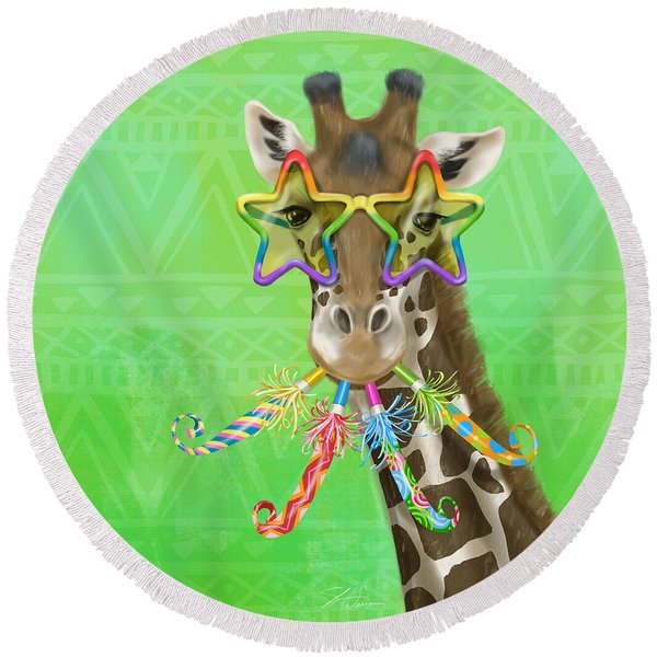 Party Safari Giraffe Round Beach Towel