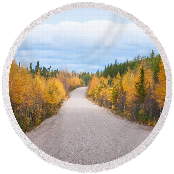 Round Beach Towel featuring the photograph Autumn In Ontario by Carl Young