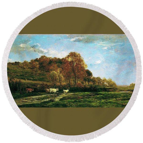 Autumn Landscape - Digital Remastered Edition Round Beach Towel