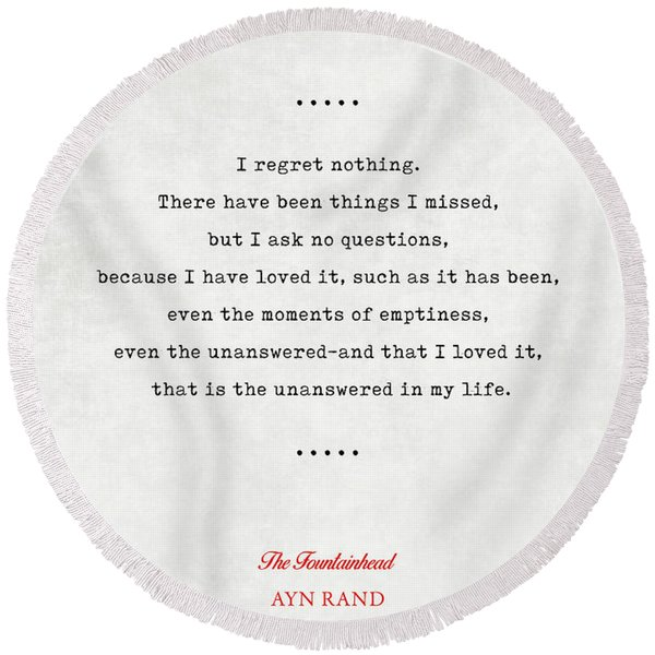 Ayn Rand Quotes 4 - The Fountainhead Quotes - Literary Quotes - Book Lover Gifts - Typewriter Quotes Round Beach Towel