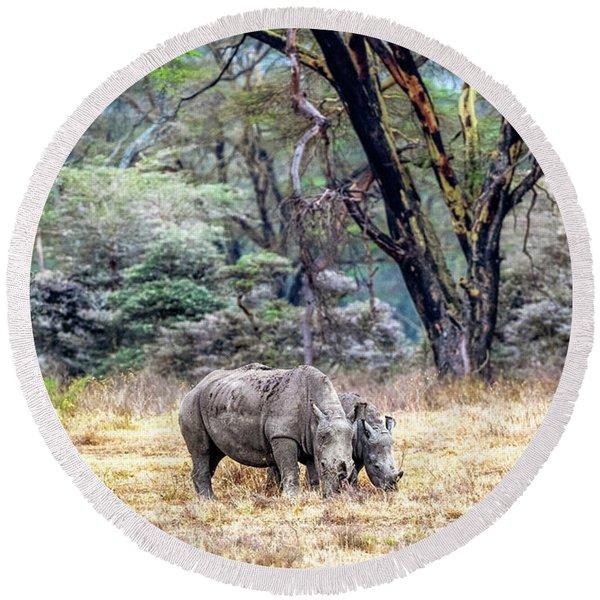 Baby And Parent White Rhino In Lake Nakuru Round Beach Towel