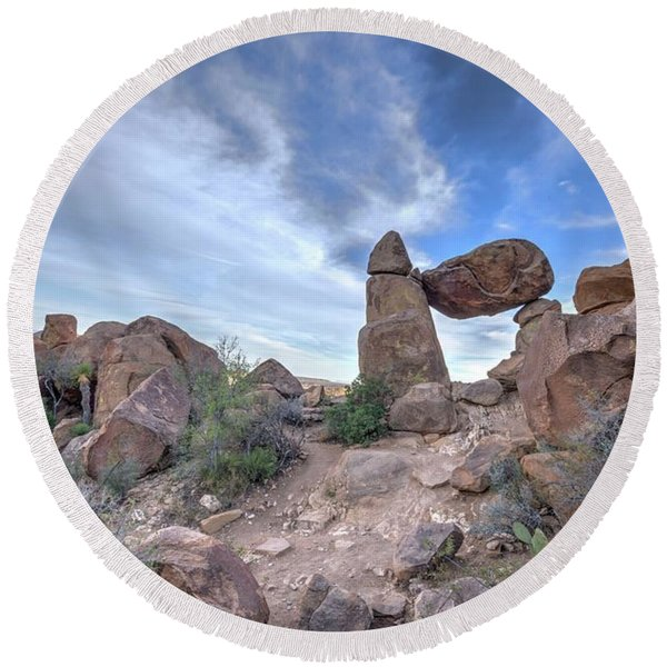 Balanced Rock Round Beach Towel